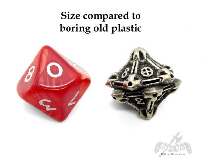 d10 by Butler Dice compared to plastic