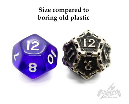 d12 by Butler Dice compared to plastic