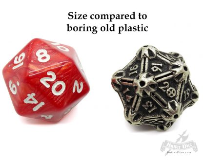 Spindown d20 by Butler Dice Compared to plastic