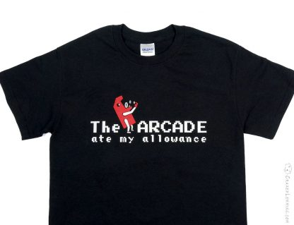 Shirt with classic arcade machine eating coins